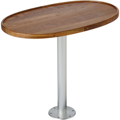 STOWABLE PEDESTAL SYSTEM WITH TEAK TABLE TOP